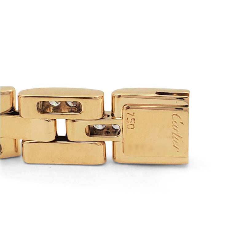 Cartier 'Maillon Panthere' Three-Row Yellow Gold and Diamond Bracelet 3