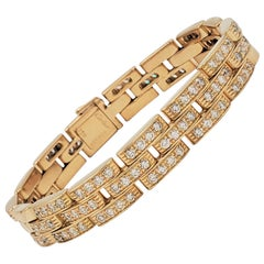 Cartier 'Maillon Panthere' Three-Row Yellow Gold and Diamond Bracelet