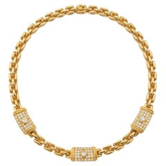 """Cartier """"Maillon"""" Yellow Gold Necklace with Diamonds"""