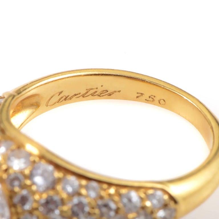 Women's Cartier Marquise 1.25 Carat Diamond 18 Karat Yellow Gold Engagement Ring For Sale