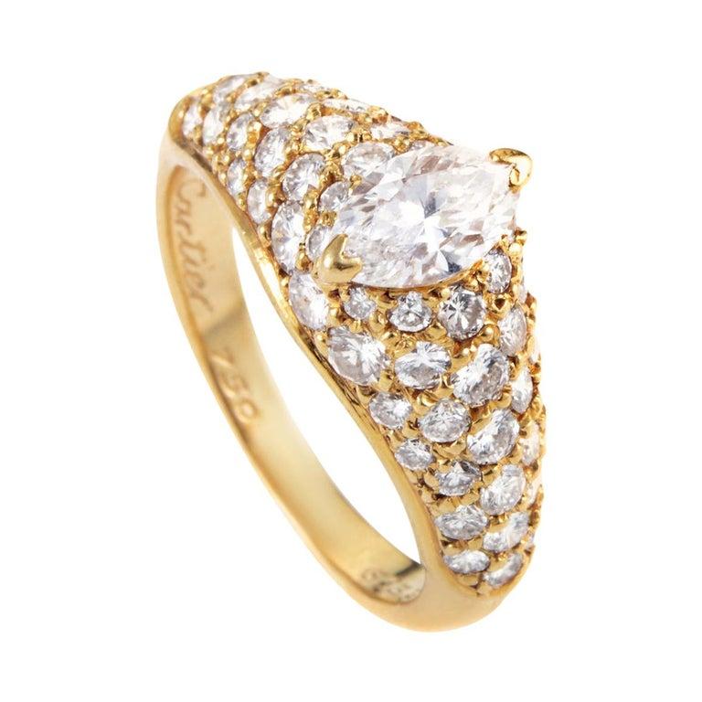 Cartier Marquise 1.25 Carat Diamond 18 Karat Yellow Gold Engagement Ring For Sale