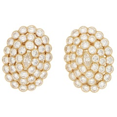 Cartier Marquise Cut Diamond Cluster Clip-On Earrings in 18 Karat Yellow Gold
