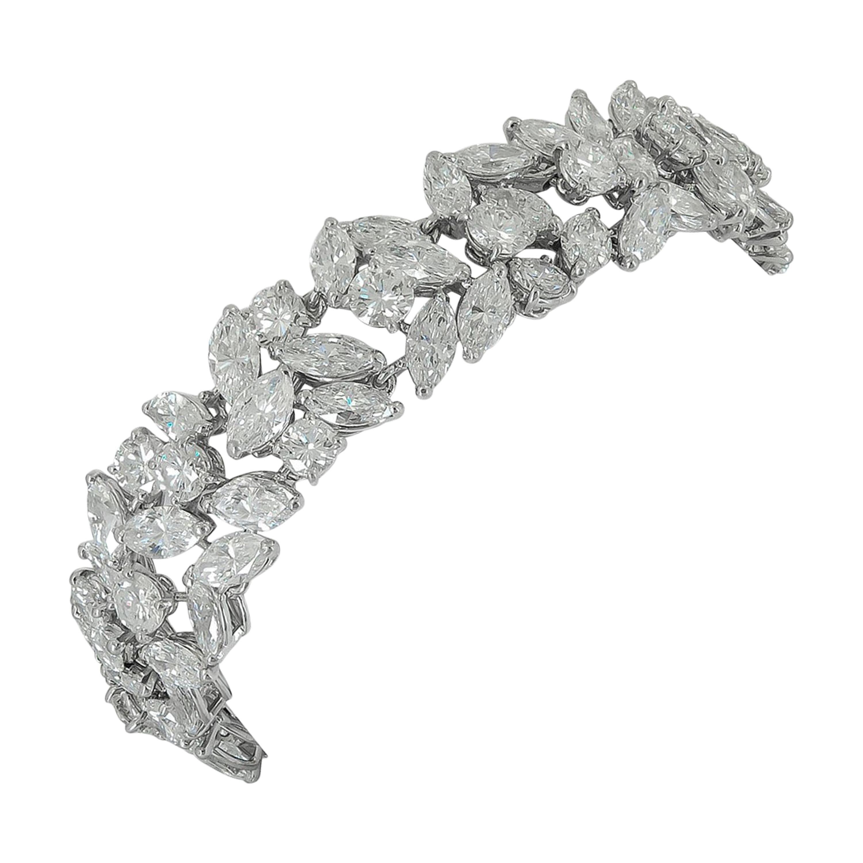 Cartier Marquise and Round Diamond Platinum Bracelet