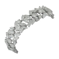 Cartier Marquise and Round Diamond Platinum Bracelet
