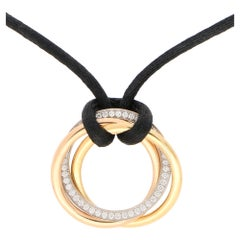 Cartier Medium Diamond Trinity Necklace Set in 18 Karat Tri-Color Gold