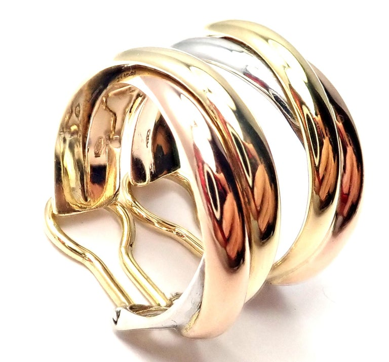 Cartier Medium Size Trinity Hoop Tri-Color Gold Earrings For Sale 6