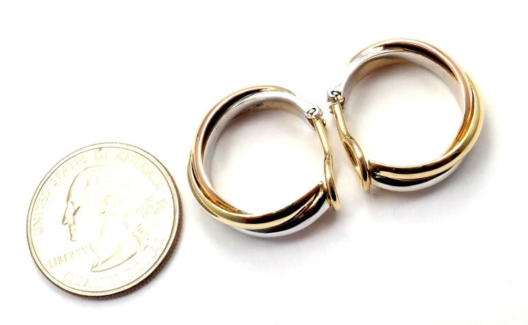 Cartier Medium Size Trinity Hoop Tri-Color Gold Earrings For Sale 7