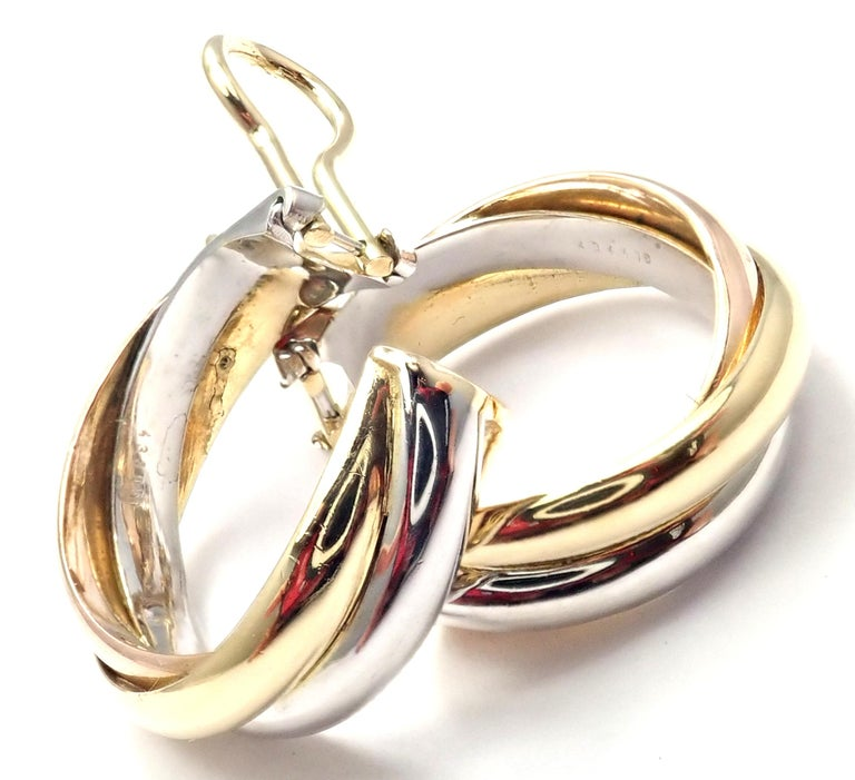 Cartier Medium Size Trinity Hoop Tri-Color Gold Earrings In Excellent Condition For Sale In Holland, PA