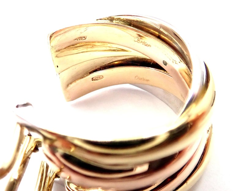 Women's or Men's Cartier Medium Size Trinity Hoop Tri-Color Gold Earrings For Sale