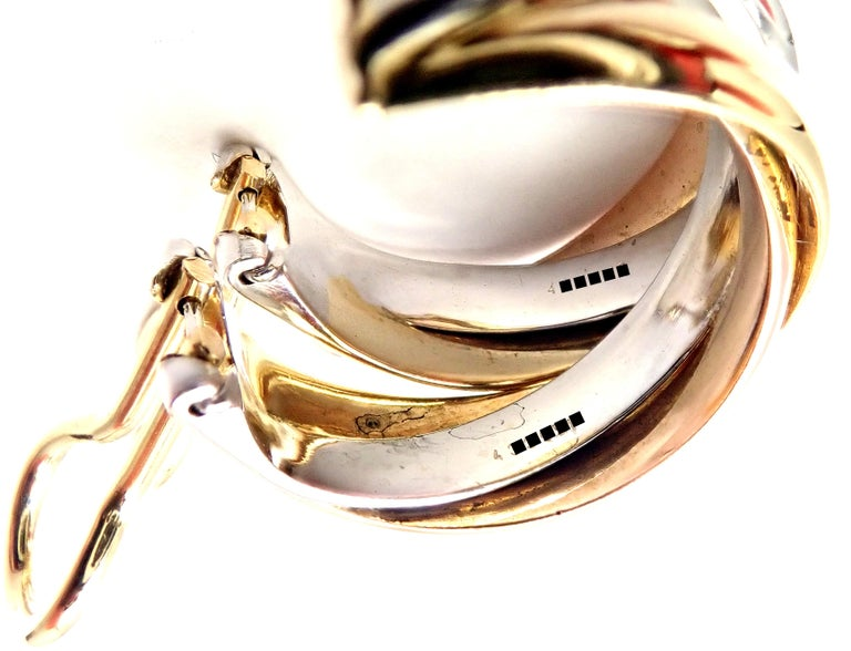 Cartier Medium Size Trinity Hoop Tri-Color Gold Earrings For Sale 2