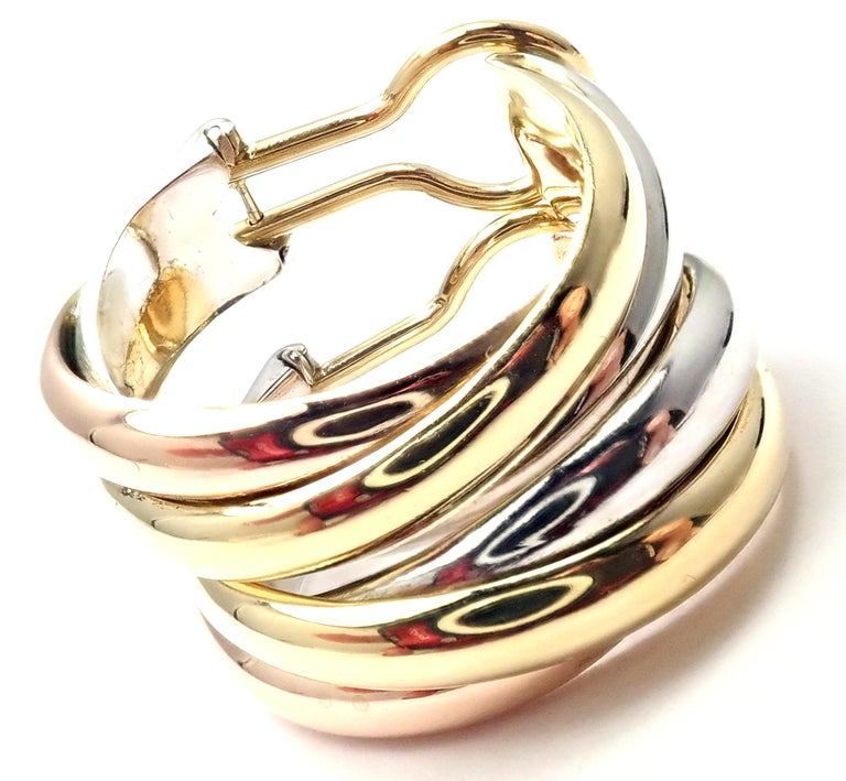 Cartier Medium Size Trinity Hoop Tri-Color Gold Earrings For Sale 3