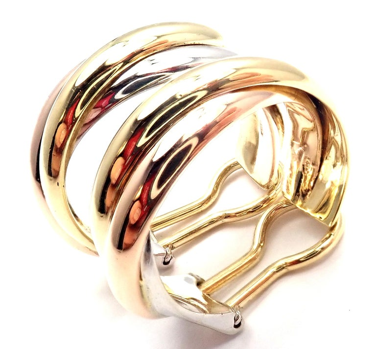 Cartier Medium Size Trinity Hoop Tri-Color Gold Earrings For Sale 5