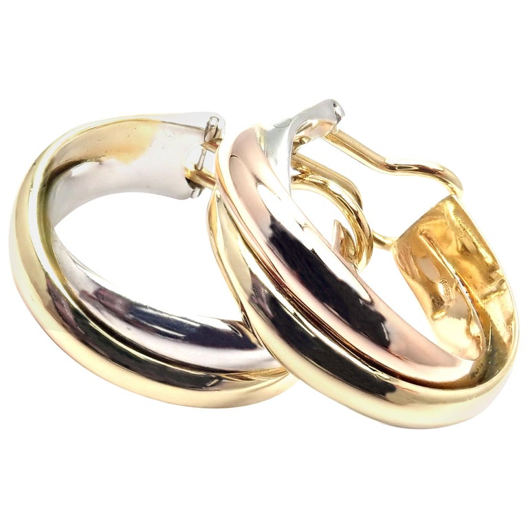 Cartier Medium Size Trinity Hoop Tri-Color Gold Earrings For Sale