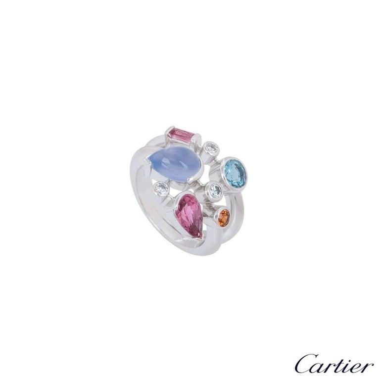 Round Cut Cartier Meli Melo Diamond Multi-Gemstone Ring For Sale