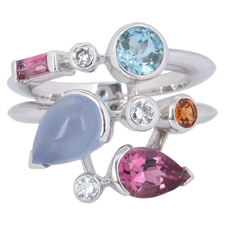 Cartier Meli Melo Diamond Multi-Gemstone Ring For Sale