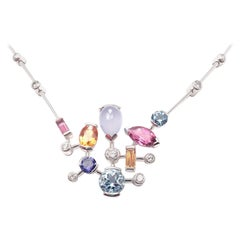 Cartier Meli Melo Diamond Tourmaline Moonstone Aquamarine White Gold Necklace