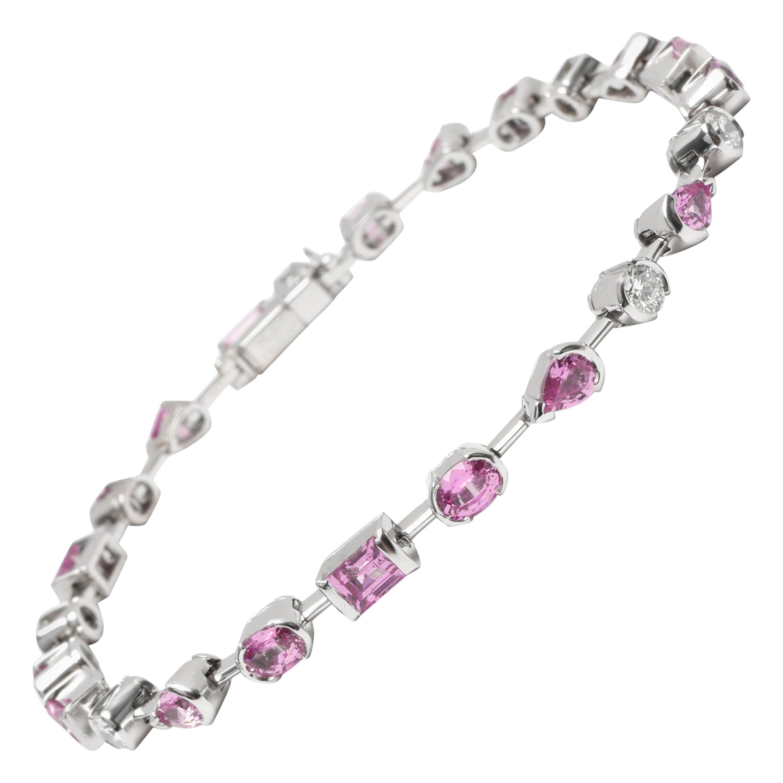 Cartier Meli Melo Pink Sapphire and Diamond Bracelet in 18 Karat Gold 0.6 Carat