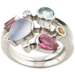 Cartier Meli Melo Platinum and Diamond and Gemstone Ring