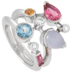Cartier Meli Melo Platinum Diamond and Multi-Gemstone Ring