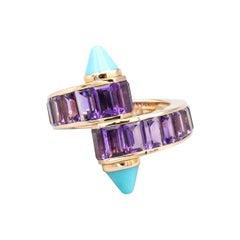 Cartier Menotte Turquoise Amethyst 18 Karat Rose Gold Ring