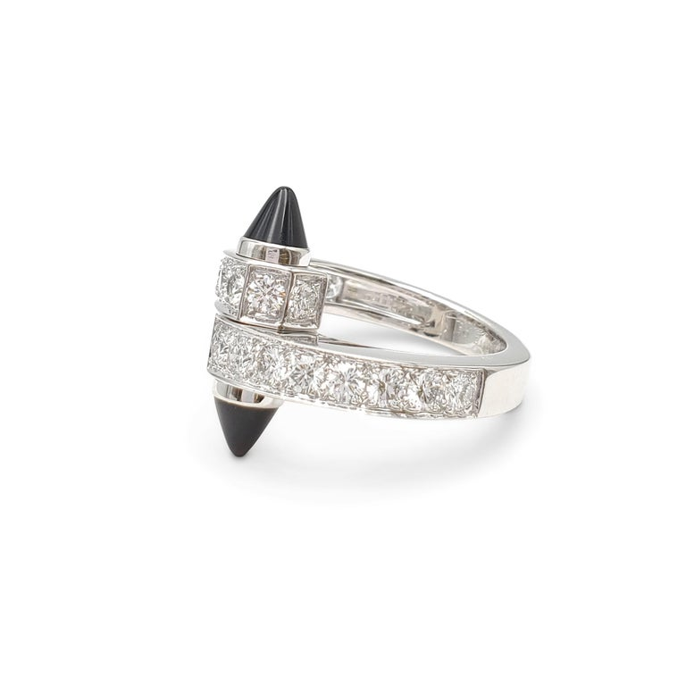Round Cut Cartier 'Menotte' White Gold Diamond and Onyx Bypass Ring For Sale