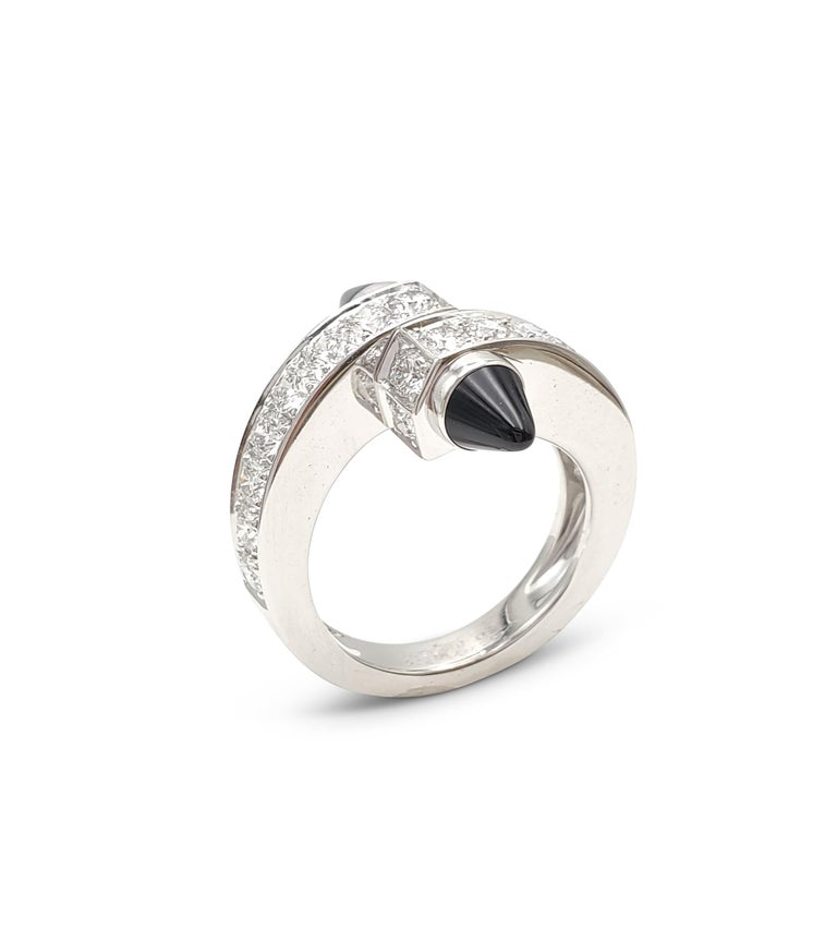 Women's Cartier 'Menotte' White Gold Diamond and Onyx Bypass Ring For Sale