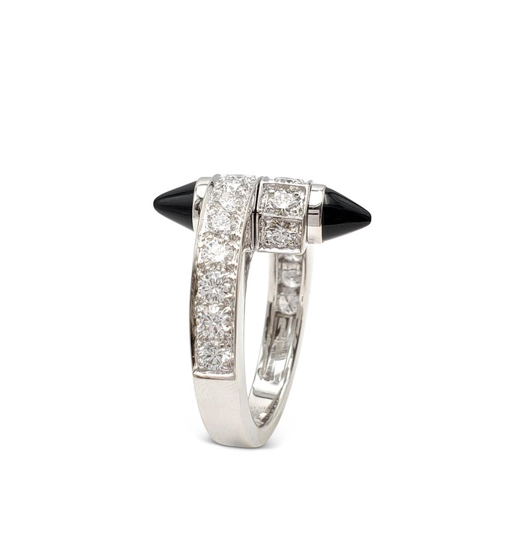 Cartier 'Menotte' White Gold Diamond and Onyx Bypass Ring For Sale 1