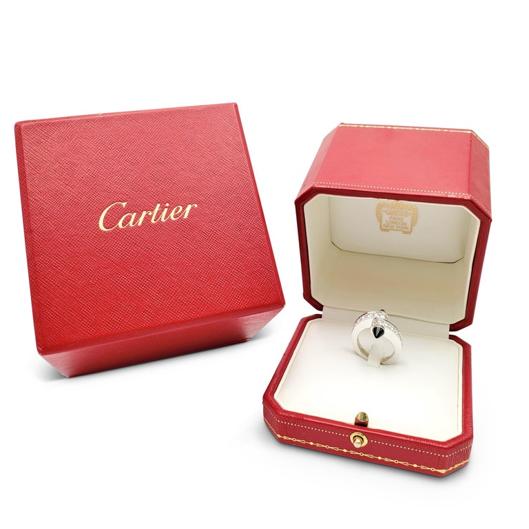 Cartier 'Menotte' White Gold Diamond and Onyx Bypass Ring For Sale 3
