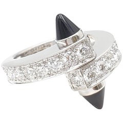 Cartier 'Menotte' White Gold Diamond and Onyx Bypass Ring