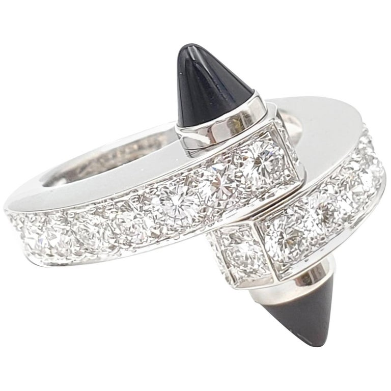 Cartier 'Menotte' White Gold Diamond and Onyx Bypass Ring For Sale