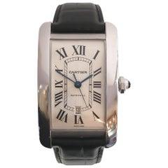 Cartier Men's Jumbo Extra Large Tank Americaine 18 Karat White Gold Watch