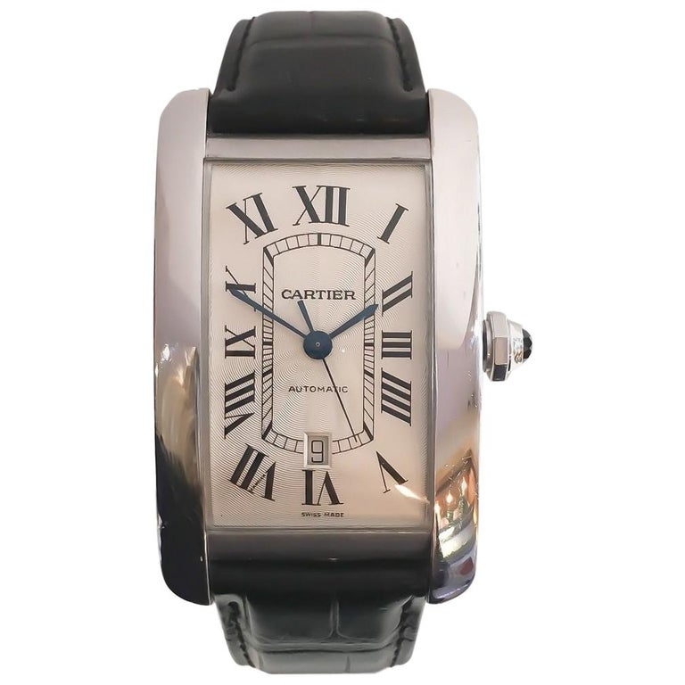 bfd45aa5e97 Cartier Men s Jumbo Extra Large Tank Americaine 18 Karat White Gold Watch  For Sale