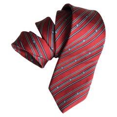 Cartier Mens Neck Tie Classic Red Silk Vintage 80s