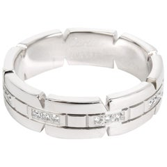 Cartier Men's Tank Francaise Diamond Band in 18 Karat White Gold 0.05 Carat