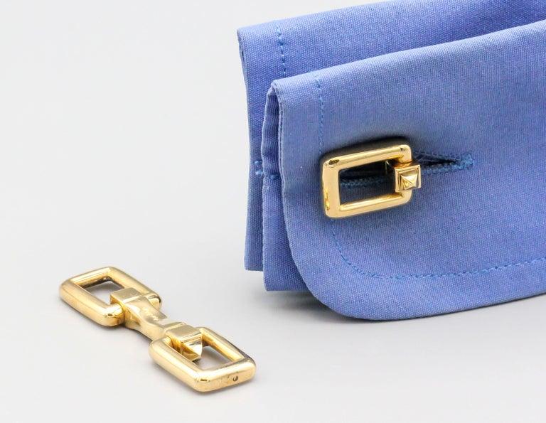 Cartier Midcentury 18 Karat Gold Folding Cufflinks For Sale 2