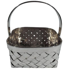 Cartier Mid-Century Modern Sterling Silver Country Chic Basket