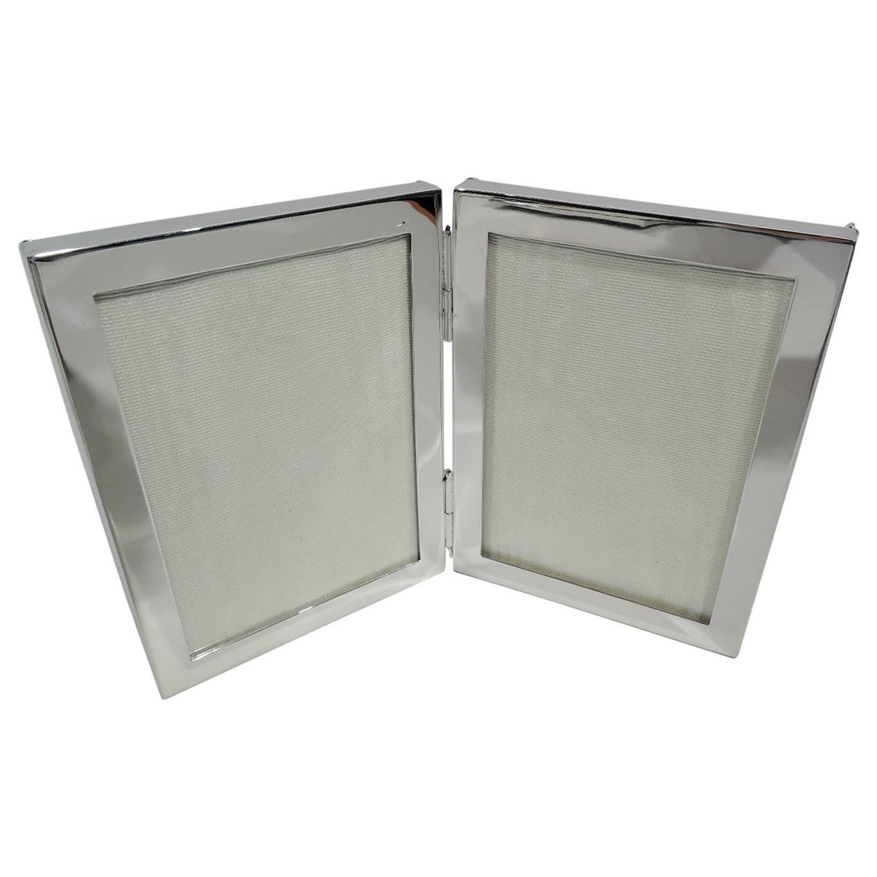 Cartier Mid-Century Modern Sterling Silver Double Diptych Picture Frame