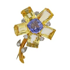 Cartier Midcentury Yellow Blue Sapphire Diamond Flower Brooch