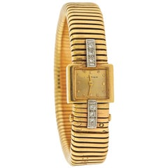 Cartier Midcentury Gold Diamond Watch Bracelet