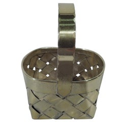 Cartier Mid-Century Modern Gilt Sterling Silver Country Chic Basket