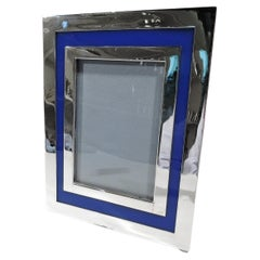Cartier Mid-Century Modern Picture Frame with Striking Blue Border