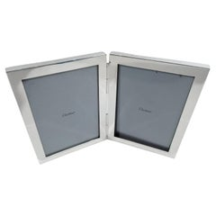 Cartier Midcentury Modern Sterling Silver Double Diptych Picture Frame