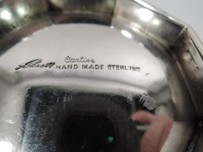 20th Century Cartier Mid-Century Modern Sterling Silver Handmade Covered Bowl
