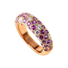 Cartier Mimi 18 Karat Rose Gold Diamond and Pink Sapphire Pave Band Ring