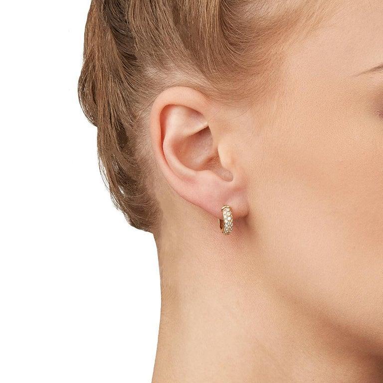 Cartier Mimi Diamond Gold Huggie Earrings For Sale 1