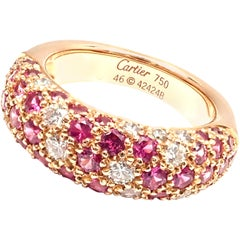 Cartier Mimi Diamond Ruby Rose Gold Band Ring