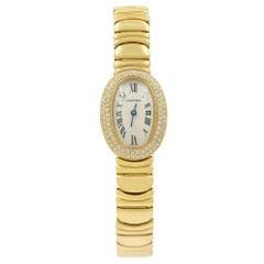 Cartier Mini Baignoire 18 Karat Gold Silver Dial Diamond WB5094WI Mint B/P