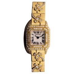 Cartier Mini Panthere Yellow Gold Diamond Set Flower Motif Bracelet