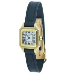 "Cartier Mini ""Santos"" Small Manual Black Leather Yellow Gold Wristwatch"