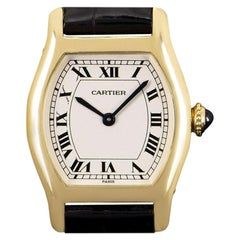 Cartier Mini Tortue Privee Collection Ladies Yellow Gold Silver Dial W1540151